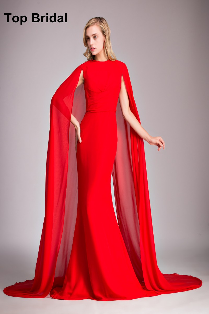 Fishtail Long Evening Dresses with Capes Elegant Dress Long Robe ...