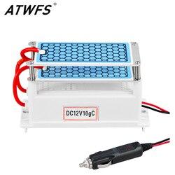 ATWFS Neueste Auto Tragbare Ozon Generator 12 v 10g Ozonisator Luft Reiniger Auto Reiniger Ozon Keramik Platte Luft Sterilisator filter