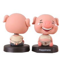 home decor 3.3 Cute Hanppiness Good Luck Pig Figurine With Spring Neck Shakeable Head Miniatures Model for Car decoration