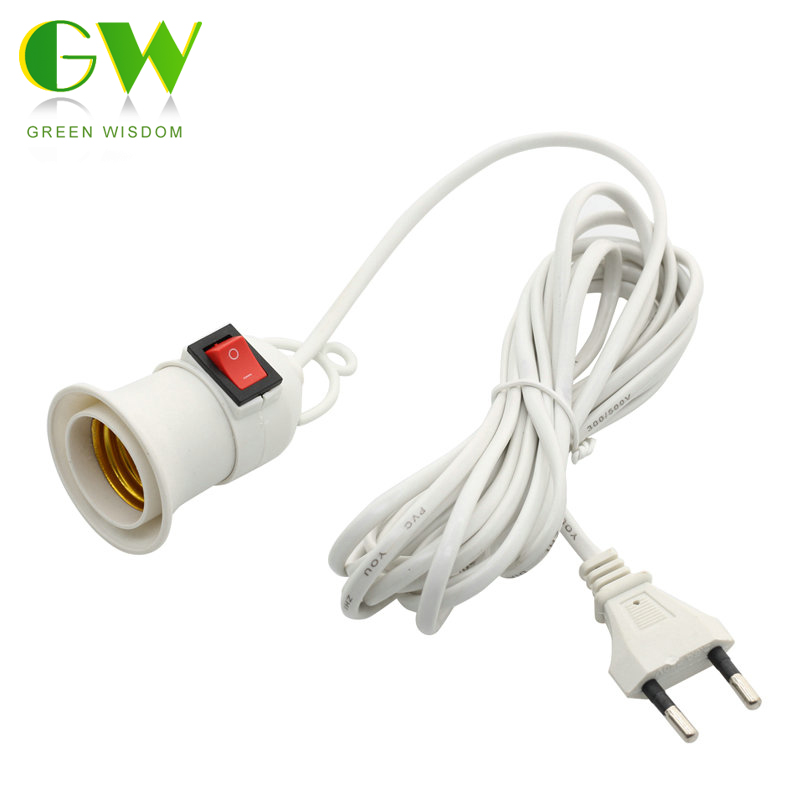 E27 Lamp Bases With 4M 8M Power Cord Push Button Switch Independent Line EU Plug E27 Lamp Holder Screwed Socket