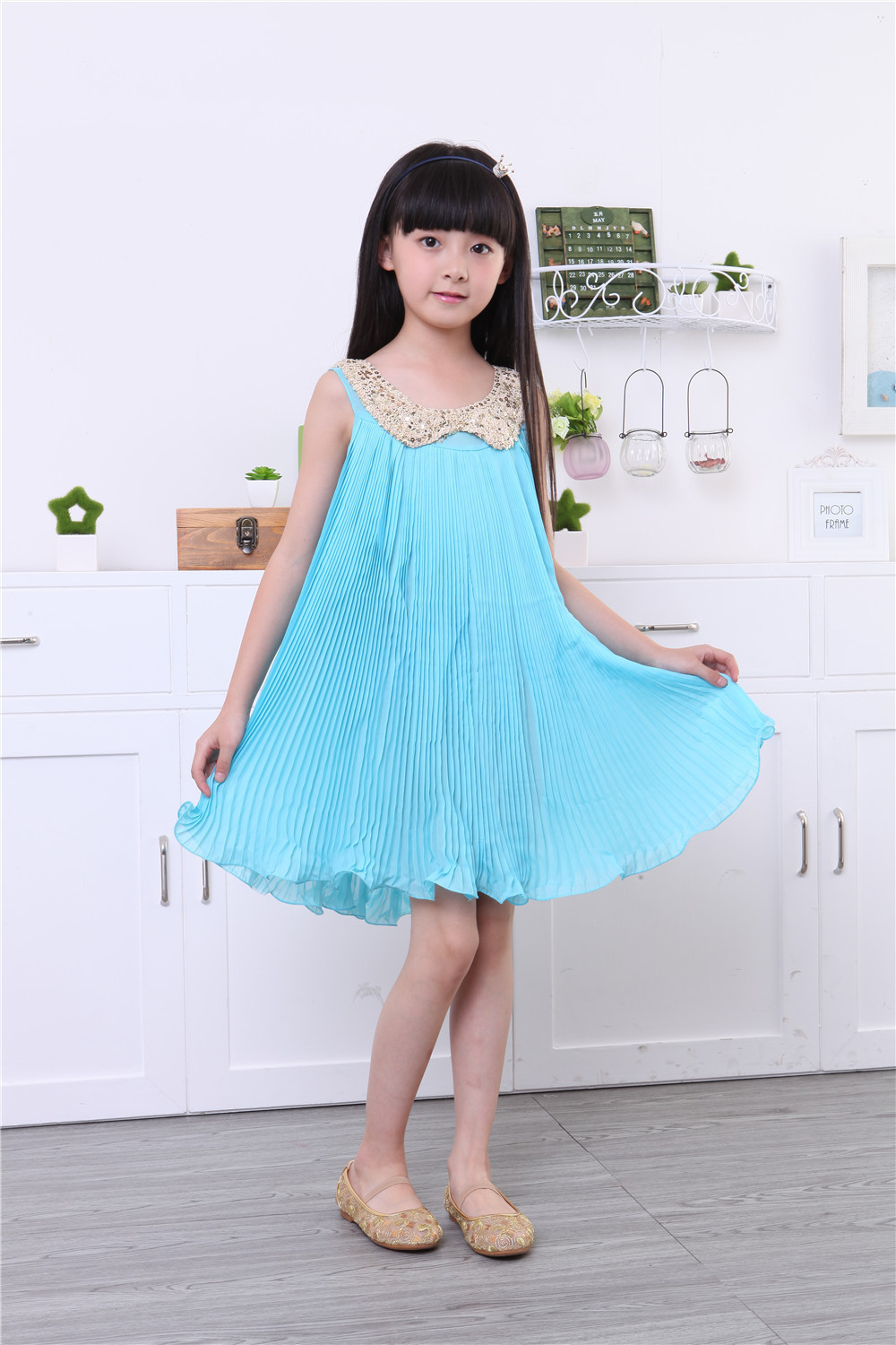 summer dress kids dresses for girls sleeveless Sequin Pleated ...