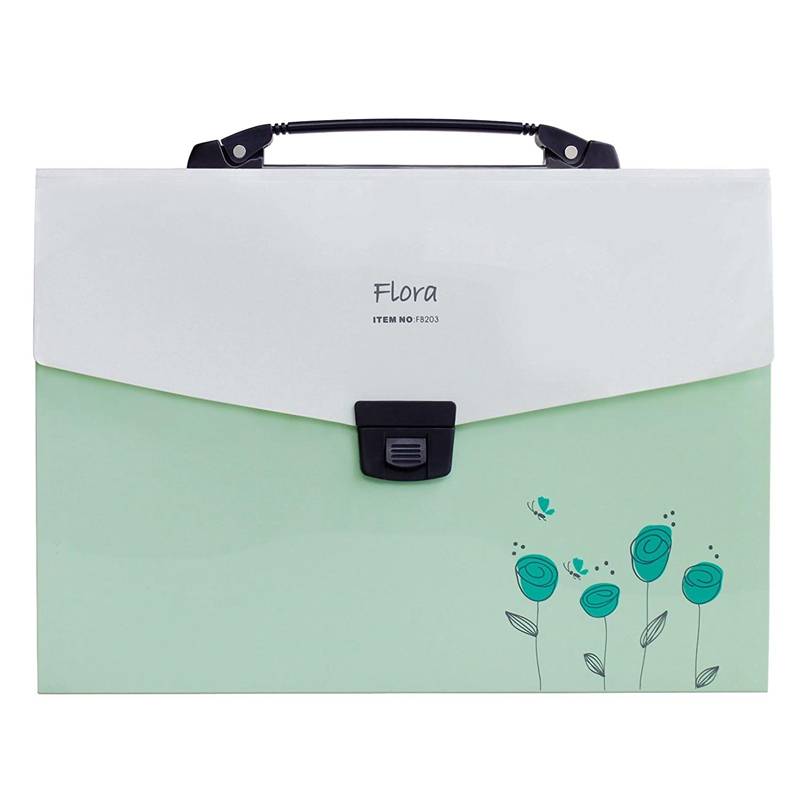 Accordion Expanding File Folder, 13-Pockets,A4 Size, Handle And Tabs, Buckle Closure