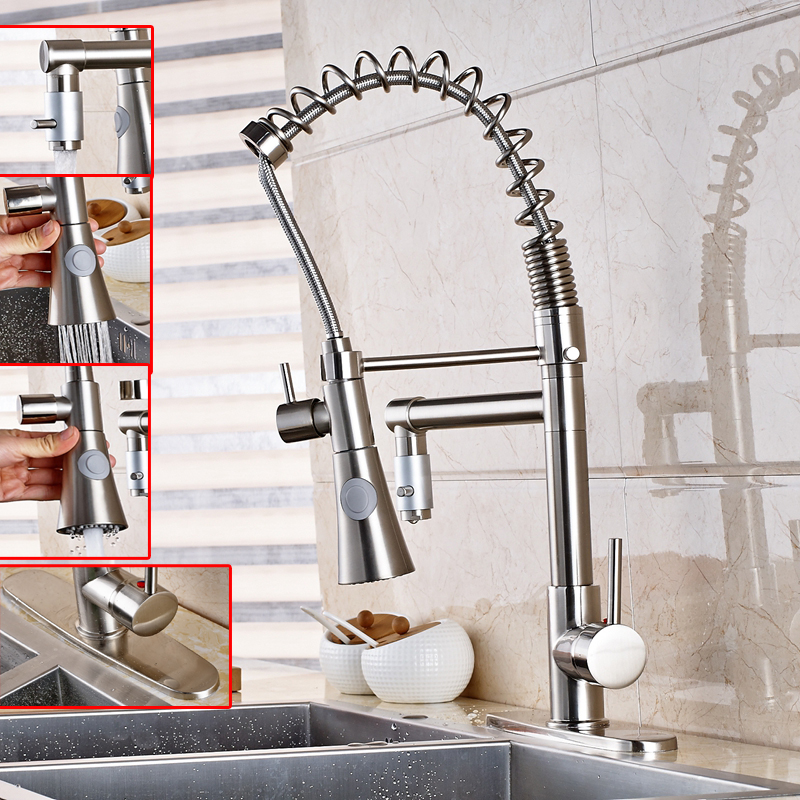 Pull Down Spring Nickel Brushed Kitchen Vessel Faucet Mixer Tap W Cover Plate