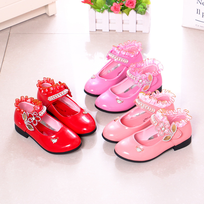 Rhinestone Pearl Lace Patent Leather Children Low Heel Party Shoes Pink Red Fashion Shoes for Kids Girl