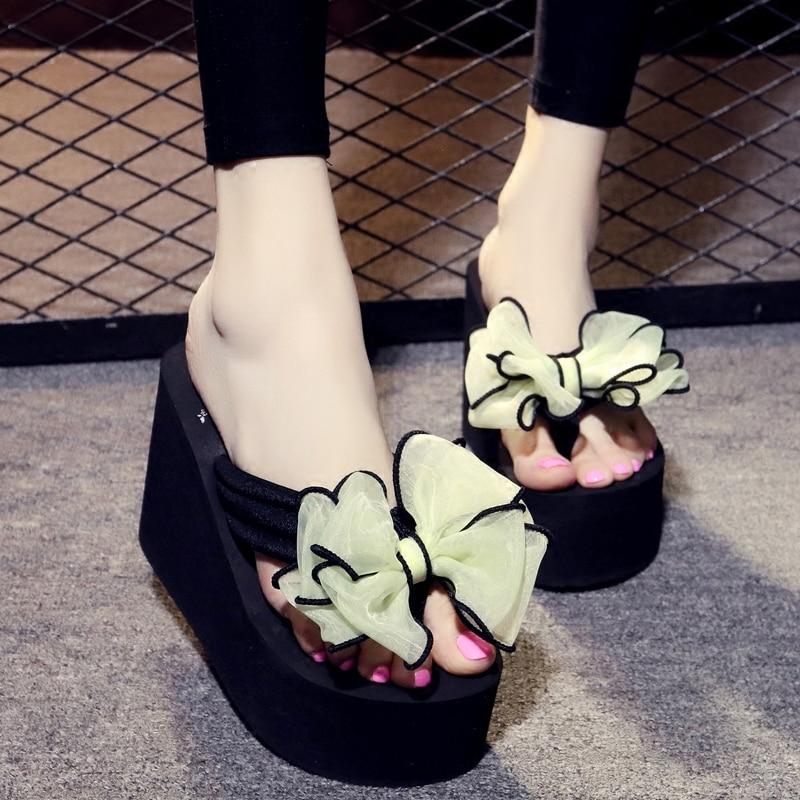 Butterfly knot High Heels 11CM Women Shoes 100 Handmade Fashion Bow tie Slippers Beach Summer Flip Flops in Flip Flops from Shoes