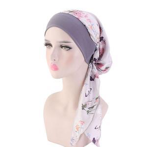 Image 5 - Womens müslüman başörtüsü kanser kemo çiçek baskı şapka türban kapatma başlığı saç dökülmesi başörtüsü Wrap önceden bağlı şapkalar streç Bandana