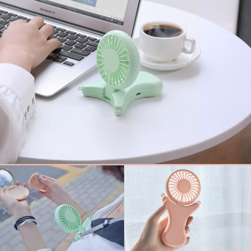 Image 2 - USB Portable Neck Hanging Fan Rechargeable Air Cooler Sports 3 gears Hand Held Desktop Electric Fan for Traveling Outdoor Office-in USB Gadgets from Computer & Office