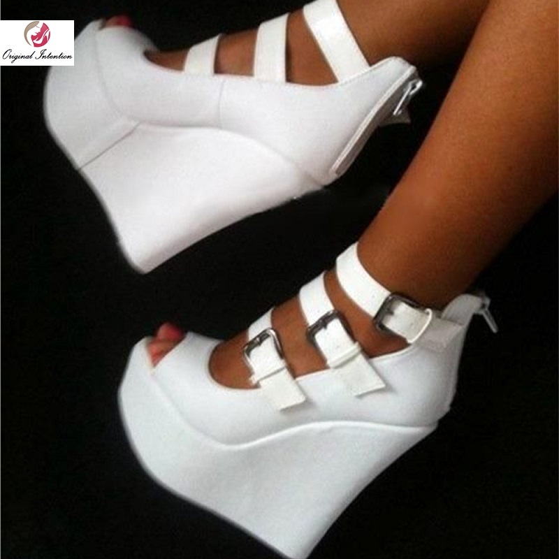 Original Intention Elegant Women Sandals Platform Peep Toe Wedges Sandals Buckle Straps White Shoes Woman Plus Size 4-15Original Intention Elegant Women Sandals Platform Peep Toe Wedges Sandals Buckle Straps White Shoes Woman Plus Size 4-15