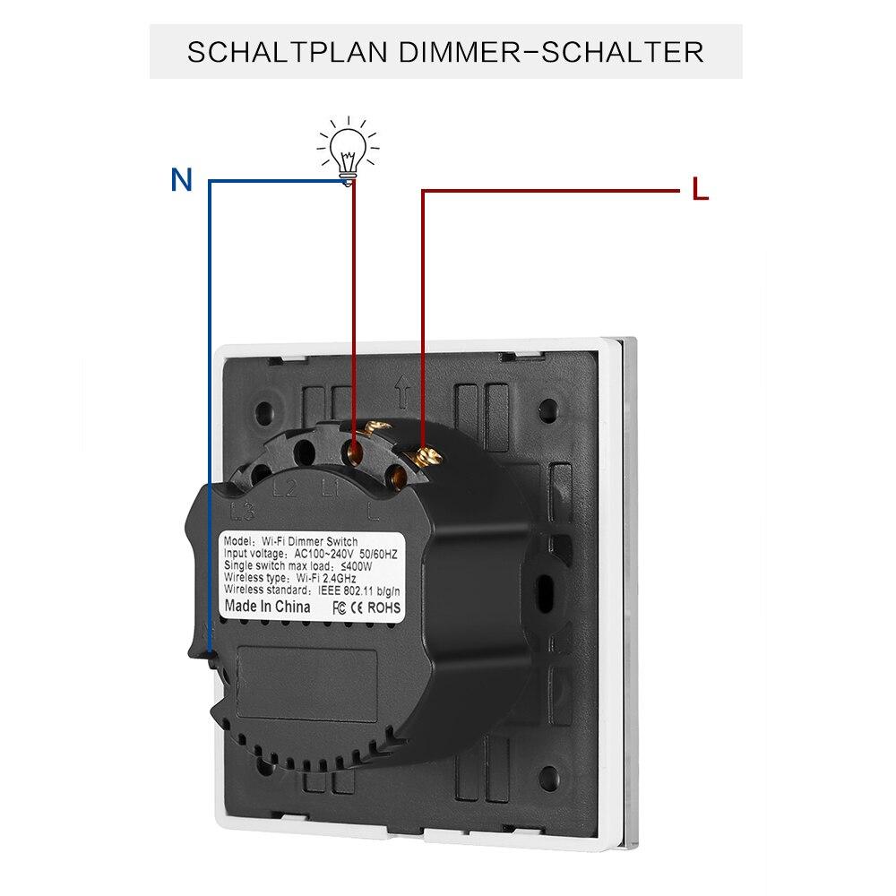 EU/UK/US standard WiFi Dimmer Switch Wireless Touch Control Switch ...