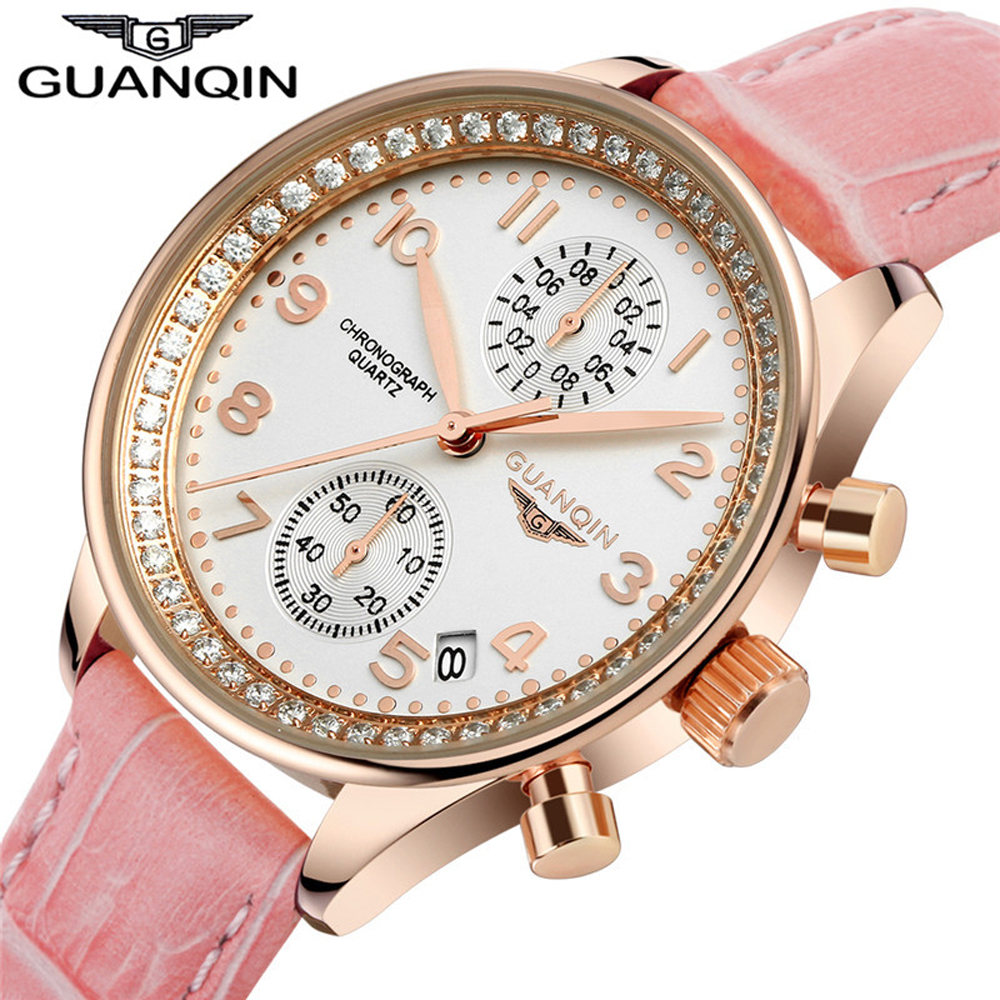 2018 GUANQIN Top Brand Hot Sale Women Fashion Vintage Wristwatch Leather Dress Watch Lady Quartz Watch Women Rhinestone Watches hot sale white leather women watch world map watches jewelry for women luxury quartz fashion brand wristwatch relogio femininos