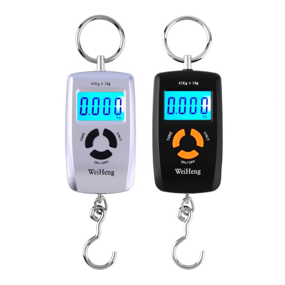 Venda quente WH-A05L lcd portátil digital balança eletrônica bolso 45 kg/10g bagagem pendurado gancho de pesca balança eletrônico lb oz kg