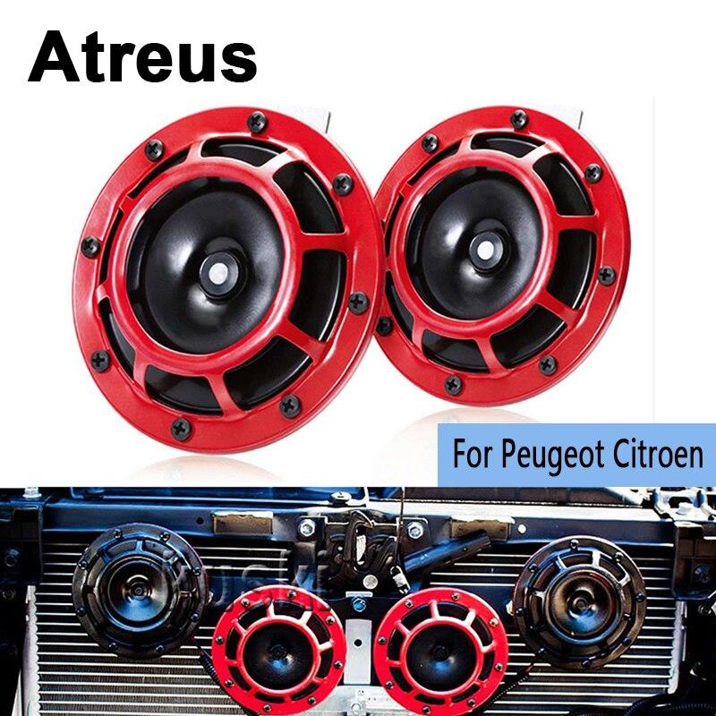 Atreus Car Styling Red Electric Blast Tone Horn Kit For Peugeot 307 206 308 407 207 2008 3008 508 406 208 Citroen C4 C5 C3 C2