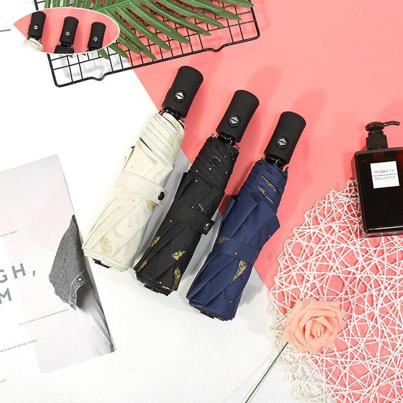 Mini Guarda-chuva Automático da pena do Ouro Padrão folding preto Proteção UV mulher dual-use parasol do guarda-chuva da chuva guarda chuva