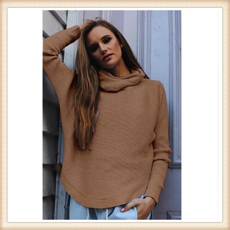 2017 Fashion New Winter Sweater Sexy Heaps High Collar Women Loose Pullovers Turtleneck Jumper Knitting Yarn Female Sweater