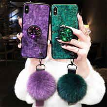 Marble Crack Smooth Hairball Hand Wrist Strap Holder Glitter Gold Foil Warm Luxury Women Case for iPhone Xs Max XR 6 7 8 Plus