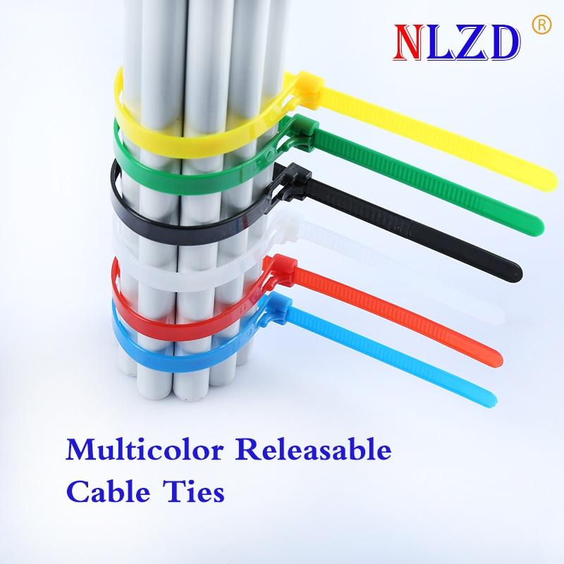 Releasable Nylon Cable Ties 300 Mm 100pcs Reuse Plastic Zip Wire Tie White Color Nylon Binding