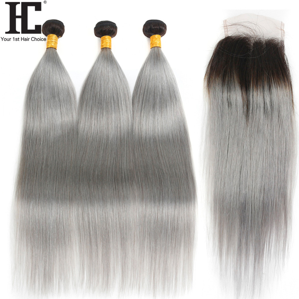 HC 1B/Grey Brazilian Straight Hair Bundles With Closure 4 Pcs Ombre Bundles With Closure Remy Human Hair Extensions With Closure