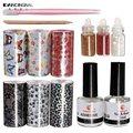Pro 1 Set Nail Art Tips Transfer Foils Sticker Decoration Kit Adhesive Top Base Coat Manicure DIY Kit Sets Tools Random Style