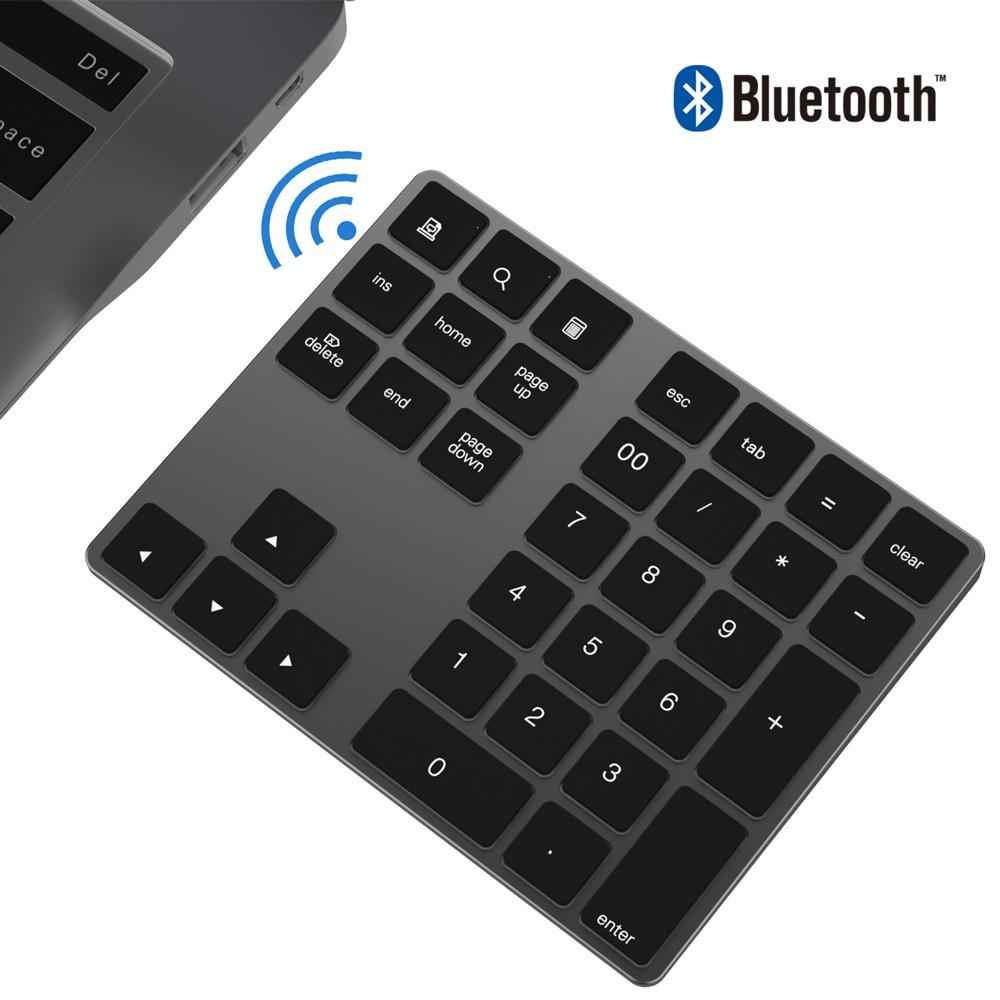 Mini Numberic Keyboard Wireless Bluetooth Keypad 34keys Calculator Keyboard Rechargeable Keypads for Windows/ iOS/Android