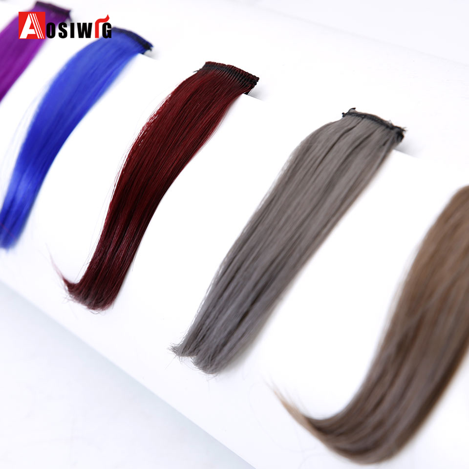 AOSIWIG Synthetic Straight Hair Extensions High Temperature Fiber Multi Color Available Fringe Ladies Bangs Faux hair Bangs
