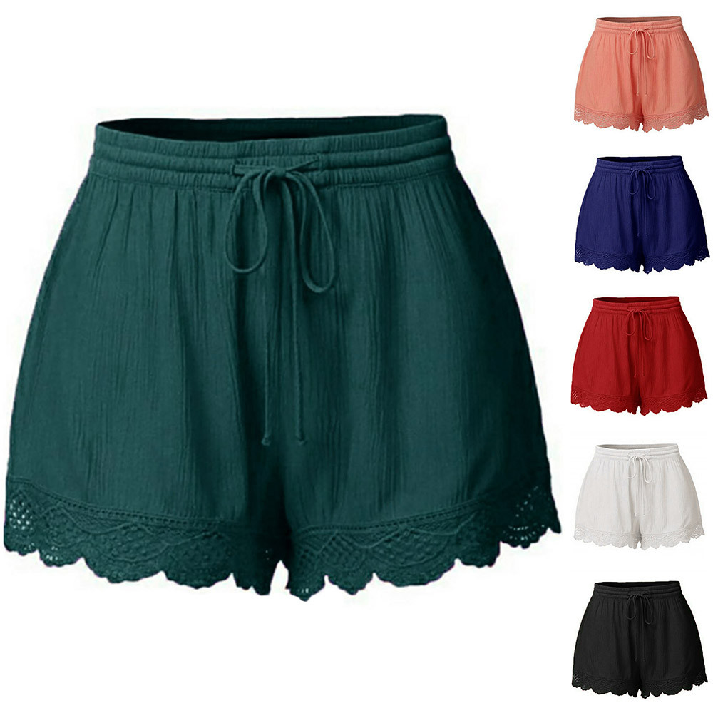 Shorts Women Femme Fashion Plus Size Rope Tie Shorts Causal Summer Shorts