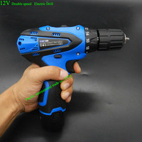 Double 2 Speed 12V Waterproof Rechargeable Drill Cordless Screwdriver Electric Drill Tool Set Rechargeable Battery Charger