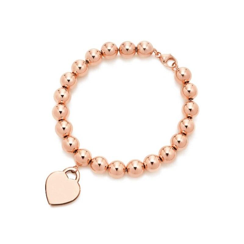 SHINETUNG Original 100% S925 en argent Sterling Rose or en forme de coeur perlé Bracelet à la mode femmes Logo luxe bijoux haut de gamme
