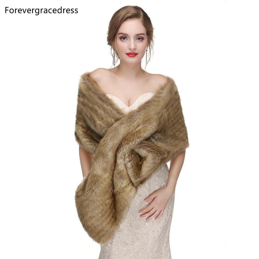Forevergracedress 2019 Elegant Soft Autumn Winter Faux Fur Bride Wedding Wraps Bolero Jackets Bridal Coats Shawls Scarves PJ446