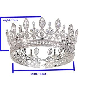 Image 5 - Hadiyana New Bride Retro Crown Copper CZ Bright Rhinestone Wedding Accessories Princess Hair A Big Full Crowns Tiaras BC3684