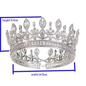 Image 5 - Hadiyana nowa panna młoda retro korona miedzi CZ jasne akcesoria ślubne Rhinestone włosy księżniczki duże pełne korony diadem BC3684