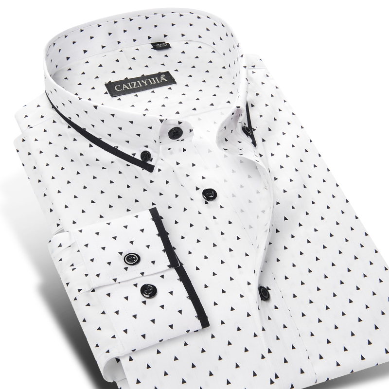 New 2019 Men's Smart Casual Shirts 100% Cotton Polka Do Printed Quality Long Sleeve Male Button-down Clothes Social Dress Shirts