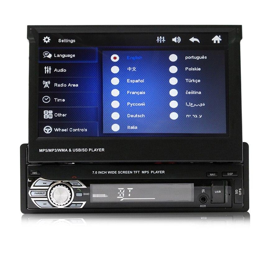 imágenes para Coche GPS de Navegación de Radio auto Estéreo de audio Bluetooth 1 DIN HD 7 pulgadas Pantalla Táctil Monitor Del Coche mp4 de carga USB Retráctil