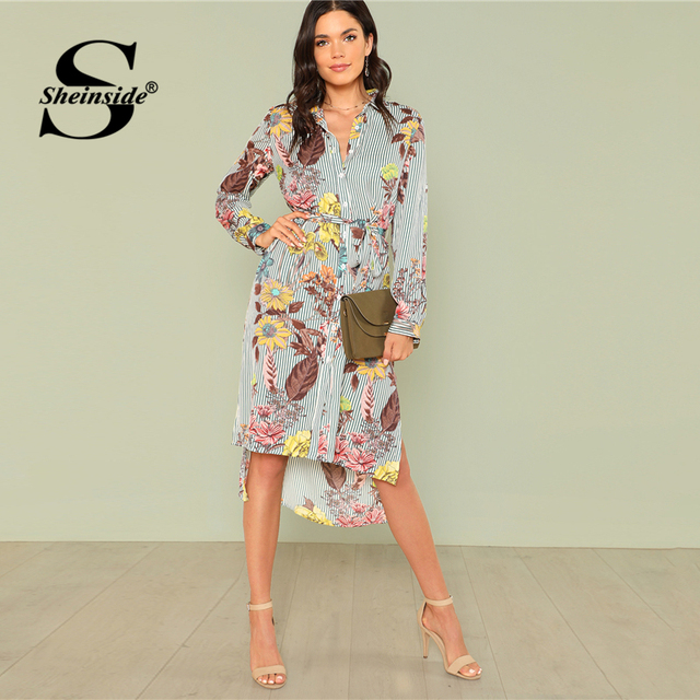 0a407ae12e8 Sheinside Side Split Print Dip Hem Shirt Dress Women Floral Long Sleeve  Striped Shift Dress High
