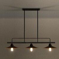 3 головки Американская деревня чердак Стиль ретро промышленного ветер крышкой лампы барная стойка ресторана гладить подвесные светильники