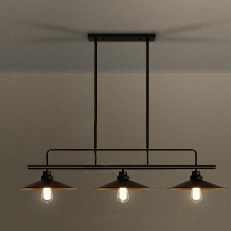 3 Heads American Village Loft Style Retro Industrial Wind Lid Lamps Bar Counter Restaurant Iron Pendant Lights Free Shipping