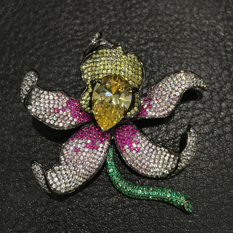 925 sterling silver wich cubic zircon flower brooch pins Orchid Brooch Romantic Fashion women jewelry for coat or dress romantic yellow rose brooch flower brooch solid silver with cubic zircon fashion women jewelry for dress or coat