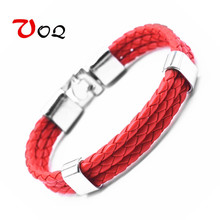 2017 Fashion Unisex Jewelry Red String Bracelet 3 Layer Handmade Braided Leather Rope Men Women Hand Strap Charm