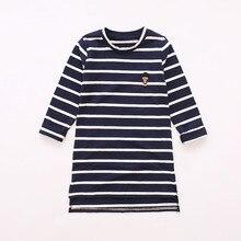 2016 Automne Adolescente Longue T chemises Coréen De Mode O cou rayé T-shirts pour Fille Casual Coton de base Chemise 4-14 Ans