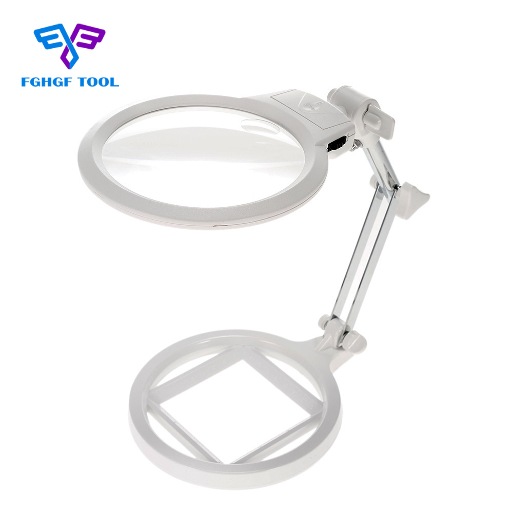 FGHGF Multi-functional Foldable 2X 6X Loupe Magnifying Glass Magnifier With 2 LED Lights Measurement Scale Desk Table Tool 10 times a magnifying glass professional with led lights rotation scale measurement printing textile jewelry coin stamps
