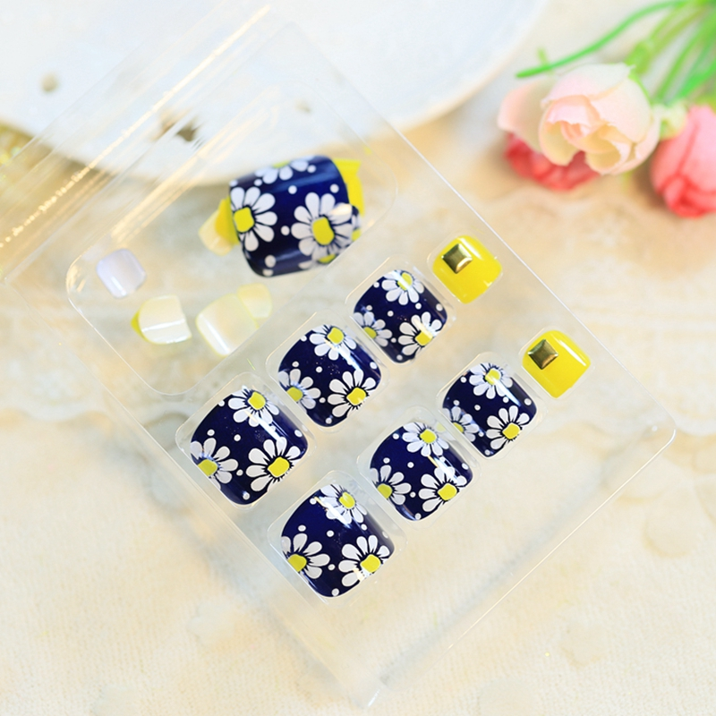 DIY Nail Art Tips Plastic False Toenails Toe Nails Sunflower Rivet ...