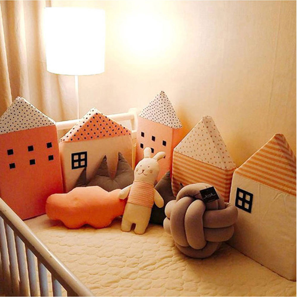 KAMIMI ins Cute infant bumper Baby Bed fence 4 pieces a set lovely Sponge house Bed fence baby bed set safe protection g50