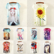 Women Fashion Loose Short Sleeve Beauty Floral Print shirt Summer Blouse Tops