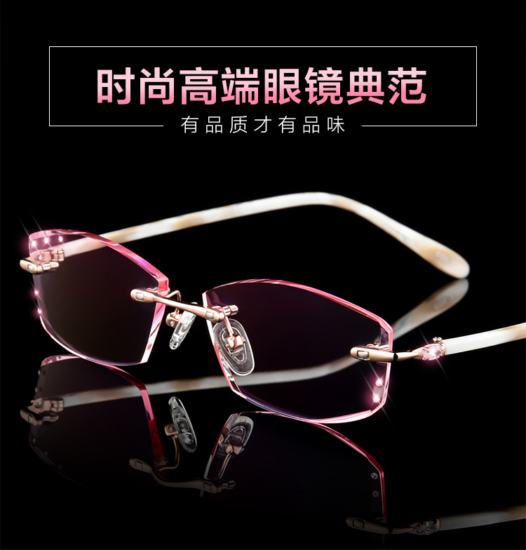 e57542be9a HD.space Luxurious Rhinestone Eyeglass Myopia Women Prescription Glasses  High Clear Lens Ladies Optical Myopia Finish Eyewear