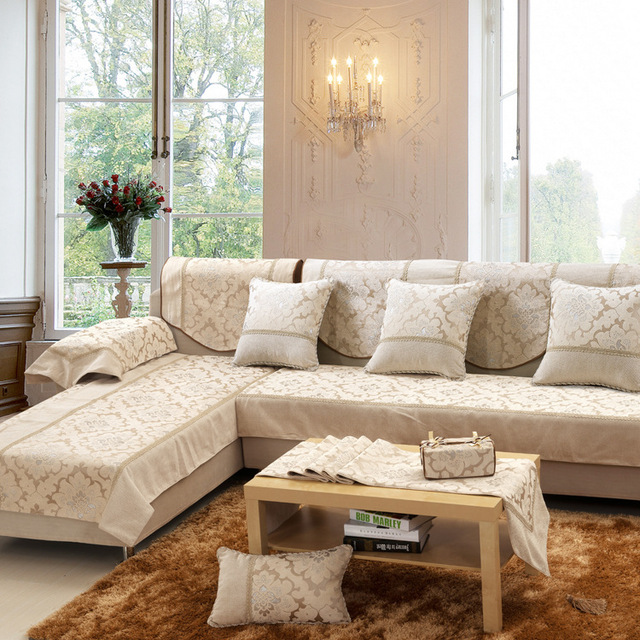High Quality European Beige Chenille Sofa Cushion Sofa Slipcover Big  Thicken Printed Sofa Towel Covers Living