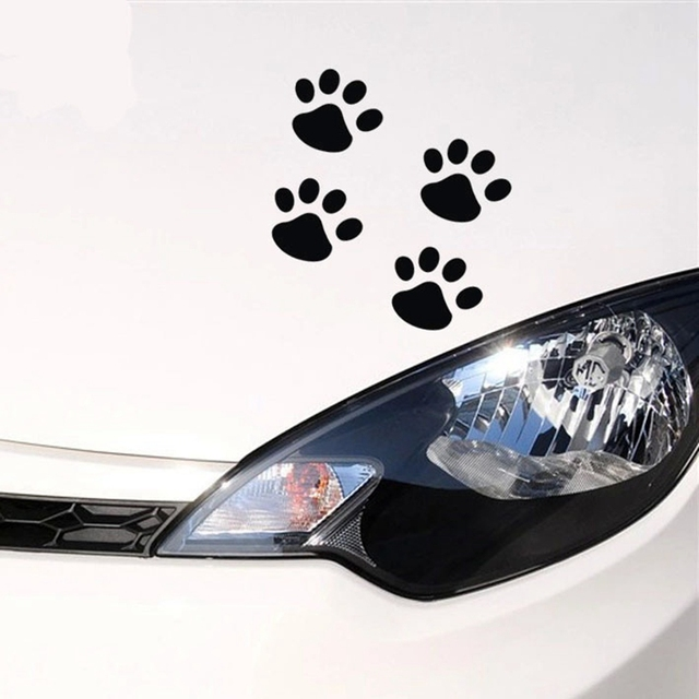 4pcs 6cm*6cm cute cat paw prints car stickers exterior accessories