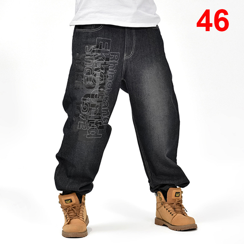 Baggy   Jeans   Men Denim Pants Loose Streetwear   Jeans   Hip Hop Casual Skateboard Pants for Men Plus Size Trousers Black S94