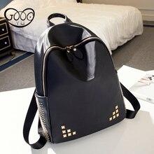 GOOG. Ю. Повседневная мода pu кожи заклепки украшенные кожаные рюкзак женщины люксовый бренд мини рюкзак Многофункциональный женщины сумку