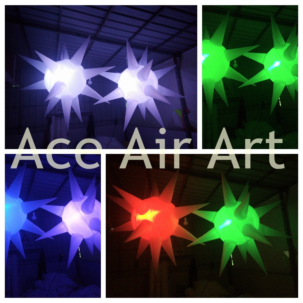 Very Low Noice Beautiful Lighting Inflatable Star For Night Club,Wedding, Stage Ceiling Decoration