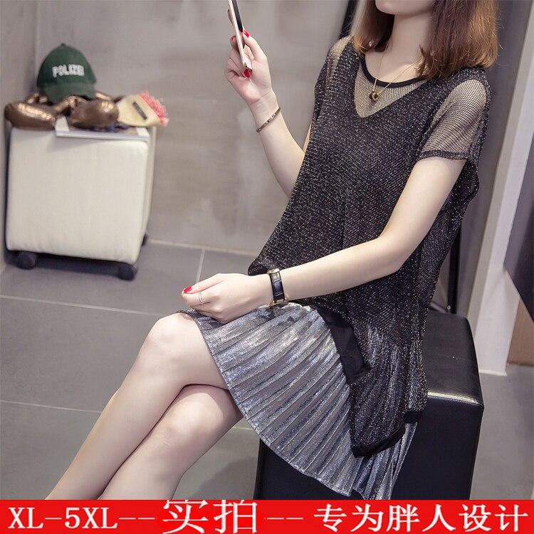XL-5XL frauen sommer sexy kurzen ärmeln aushöhlen plissee mini kleid K115