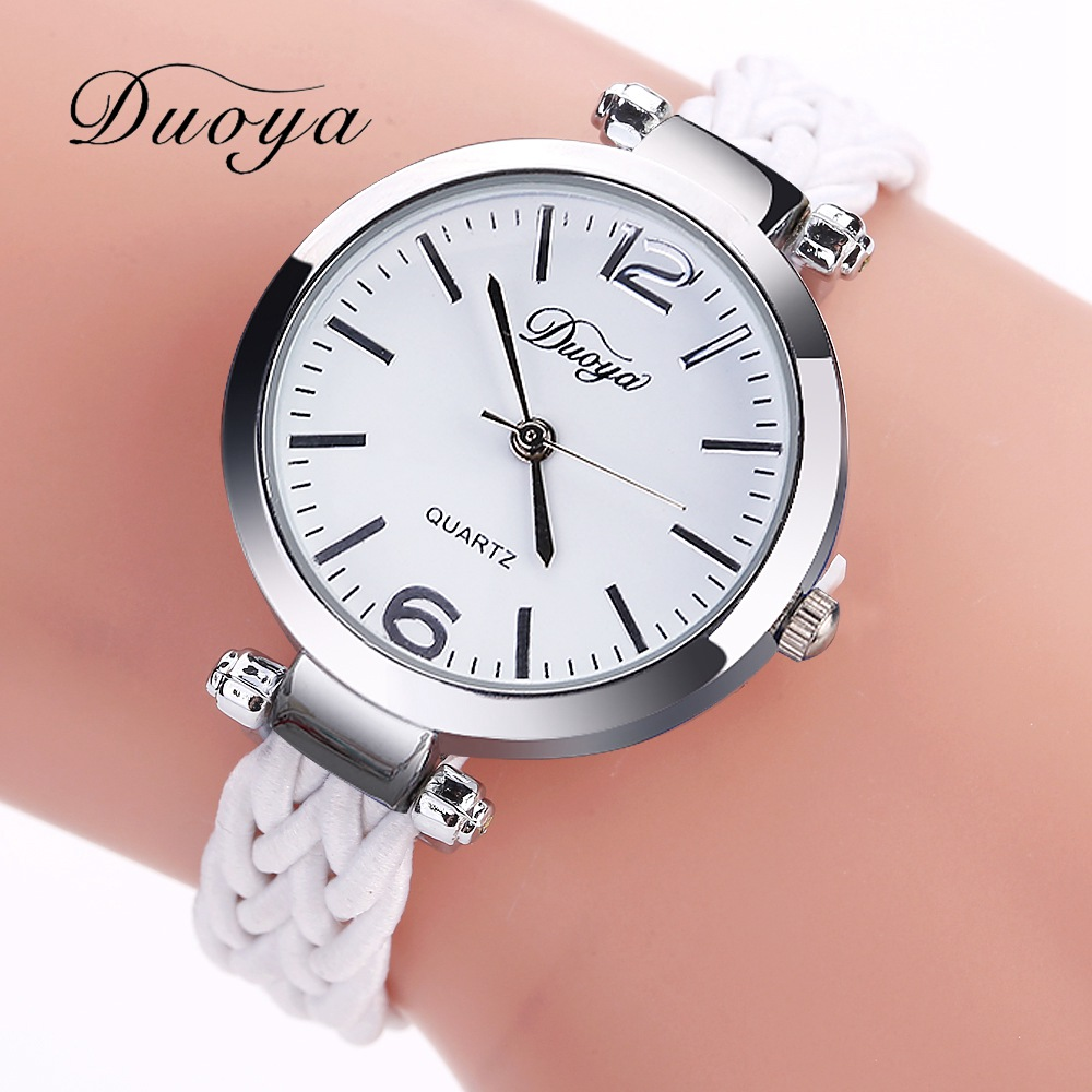 Duoya Top Luxury Brand Women Bracelet Watches Silver Fashion Hand Made Ladies Quartz Wrist Watches Luxury Vintage Simple Watch